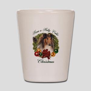 Collie Christmas Shot Glass