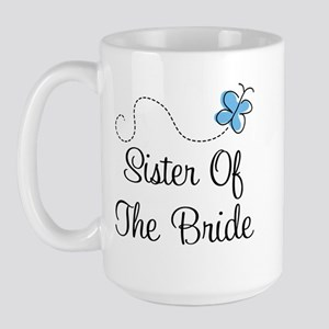 Sister of the Bride Blue Butterfly Large Mug