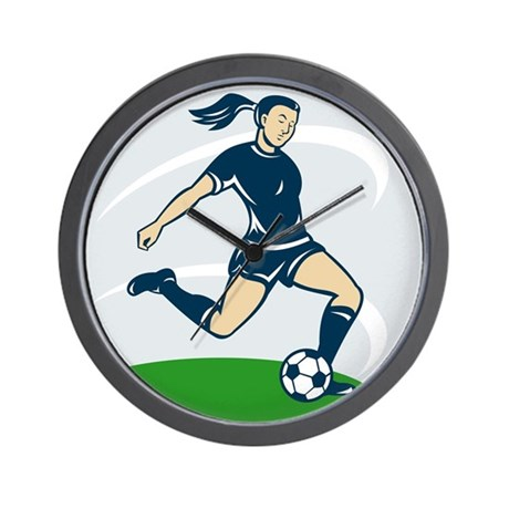woman soccer player Wall Clock