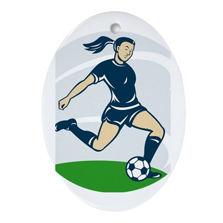 woman soccer player Ornament (Oval)