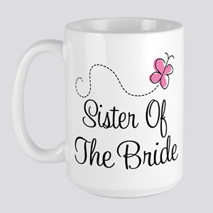 Sister of the Bride Pink Butterfly Large Mug