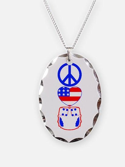 Peace, Love, Cloth Necklace