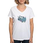 Cute Rhino Women's V-Neck T-Shirt