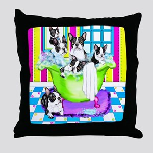 Boston Terrier TubFull Throw Pillow