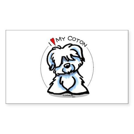 Love my Coton Sticker (Rectangle)