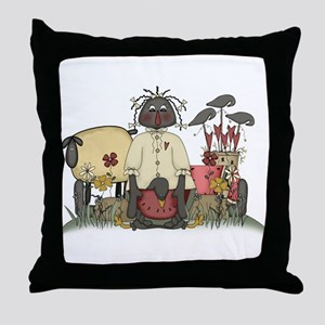 Black Doll Throw Pillow