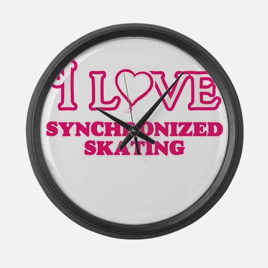 I Love Synchronized Skating Large Wall Clock