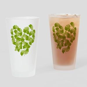 Ginkgo Leaf Heart Pint Glass