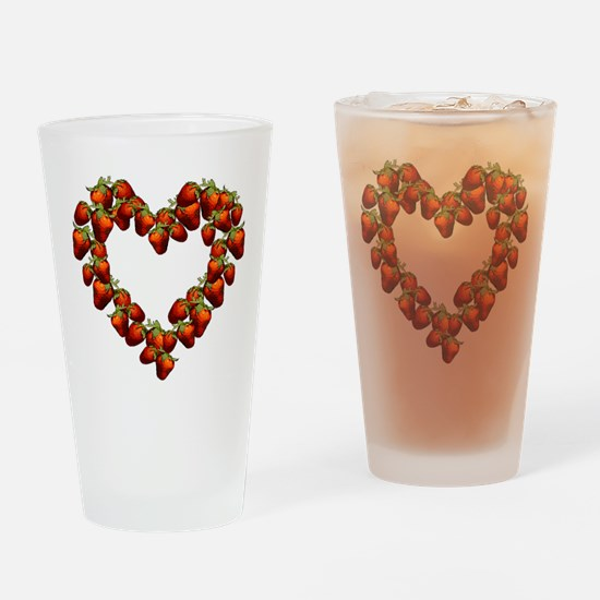 Strawberry Heart Pint Glass
