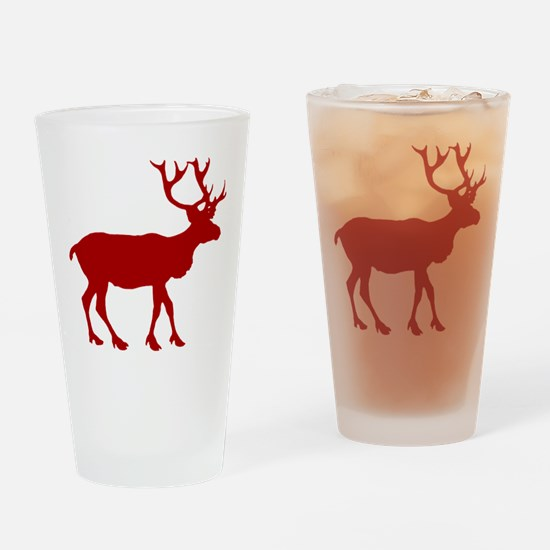 Red And White Reindeer Motif Pint Glass