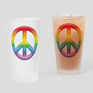 Rainbow Peace Sign Pint Glass