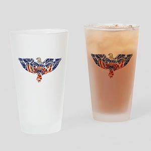 Retro Eagle and USA Flag Pint Glass