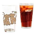 Cute Monkey Couple Pint Glass