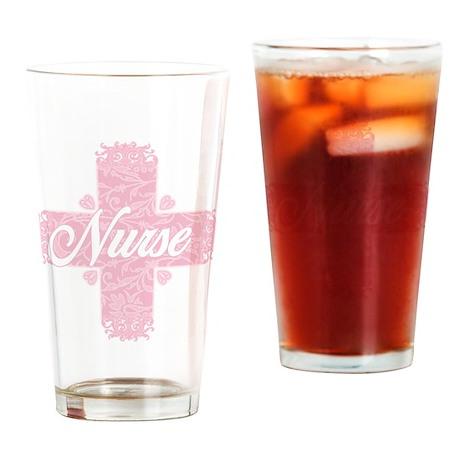 Nurse Pink Lacy Cross Drinking Glass