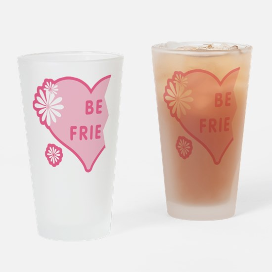 Pink Best Friends Heart Left Pint Glass