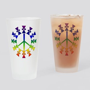 Rainbow Peace Spiral Drinking Glass
