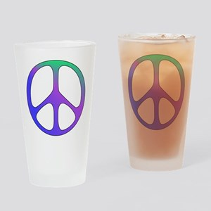 Rainbow Colored Peace Sign Drinking Glass