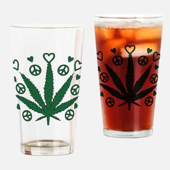 Peace Love Weed Pint Glass