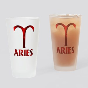 Red Aries Symbol Drinking Glass