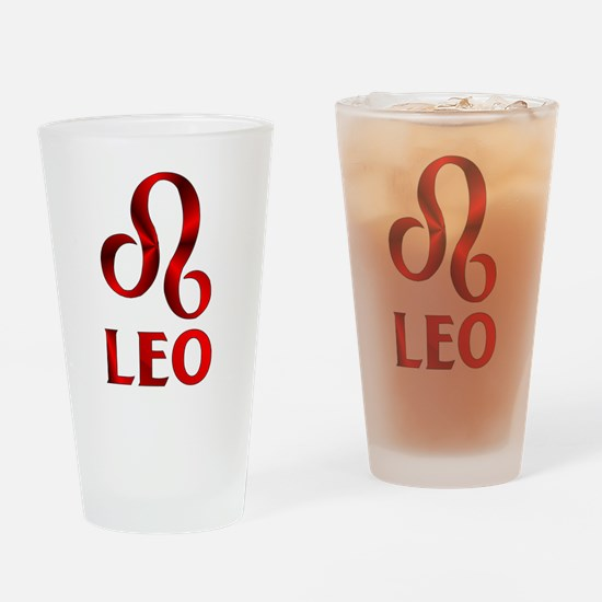 Red Leo Astrological Symbol Drinking Glass