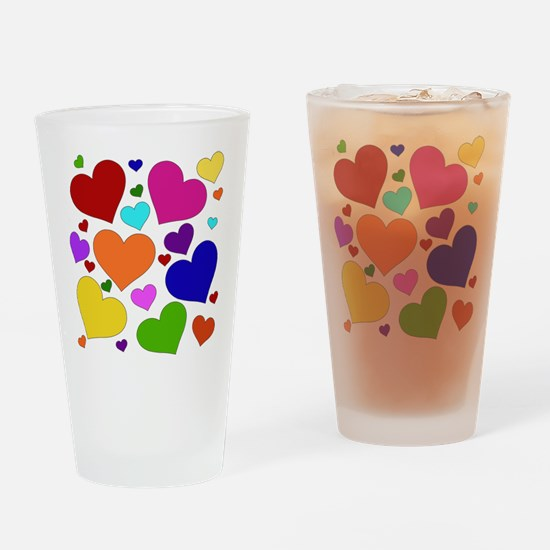 Rainbow Hearts Pint Glass