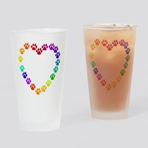 Cat Print Heart Pint Glass