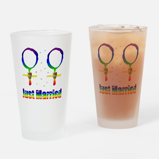 Just Married Lesbians Drinking Glass