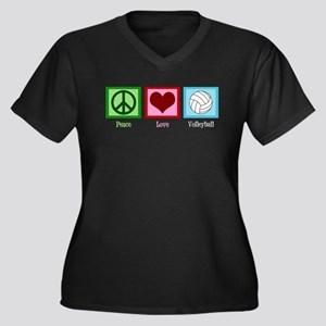 Peace Love Volleyball Women's Plus Size V-Neck Dar