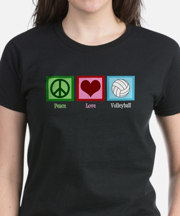 Peace Love Volleyball Women's Dark T-Shirt