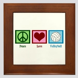 Peace Love Volleyball Framed Tile