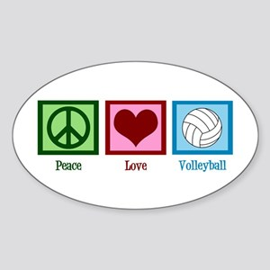 Peace Love Volleyball Sticker (Oval)