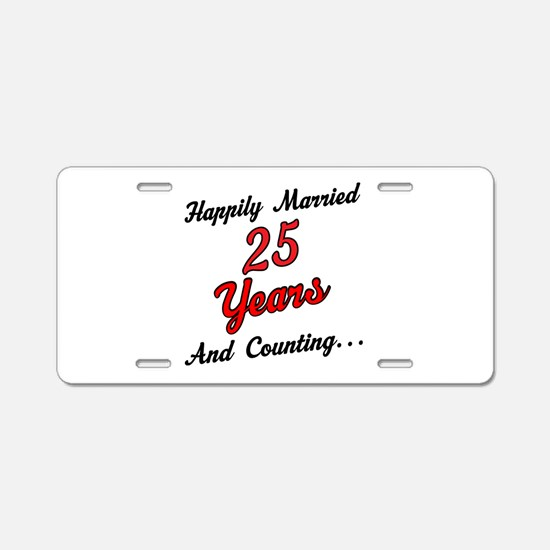 25th Anniversary Gift Married Aluminum License Pla