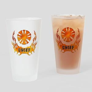 Fire Chiefs Flame Tattoo Drinking Glass