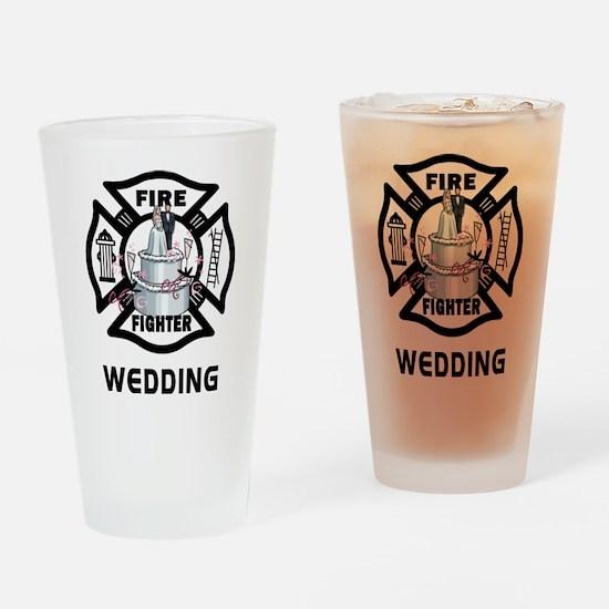 Firefighter Wedding Cake Drinking Glass