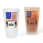 Patriotic USA Pug Dogs Drinking Glass