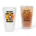 Firefighter Skull and Flames Drinking Glass