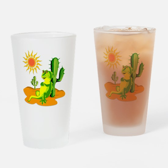 Cactus in the Desert Iguana Drinking Glass