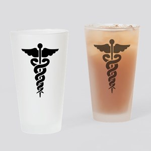 Medical Symbol Caduceus Drinking Glass