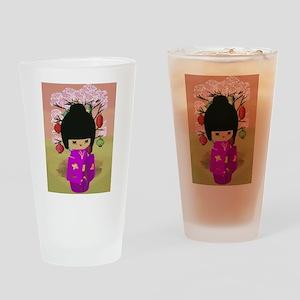 Cute kawaii pink dress kokeshi Drinking Glass