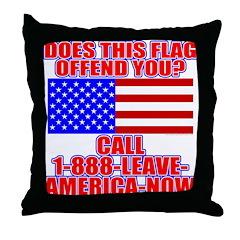 Patriotic or Leave America Throw Pillow