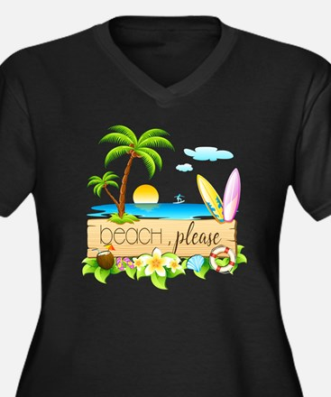 Cute Tropical vacations Women's Plus Size V-Neck Dark T-Shirt