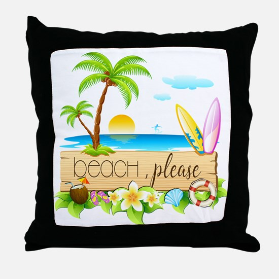 Unique Funny beach Throw Pillow