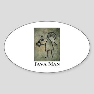 Java Man Oval Sticker