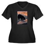 Bear Women's Plus Size V-Neck Dark T-Shirt