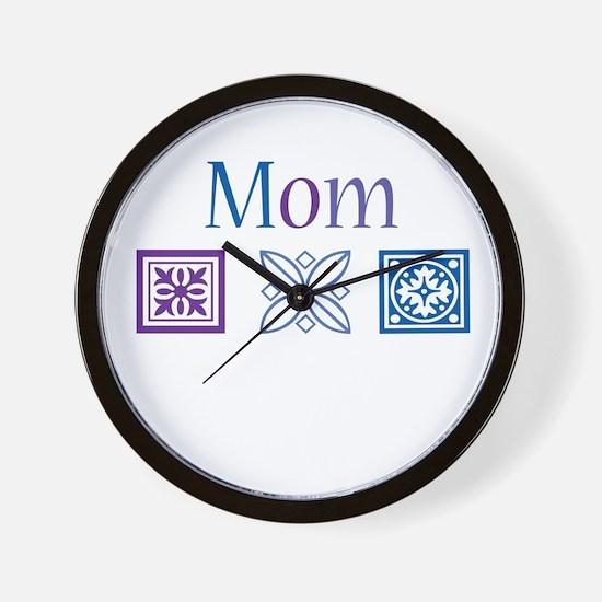 Mom Quilt Blocks Wall Clock