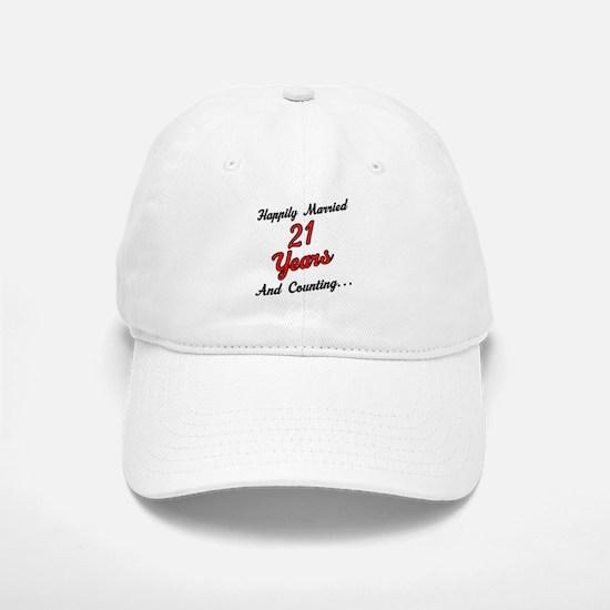 21st Anniversary Gift Married Baseball Baseball Cap