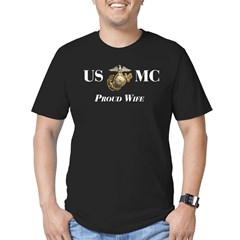 USMC Proud Wife Men's Fitted T-Shirt (dark)