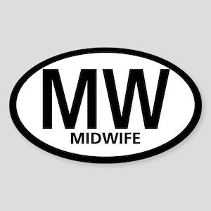 Midwife Black Oval Oval Sticker