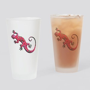 Pink Rose Gecko Drinking Glass