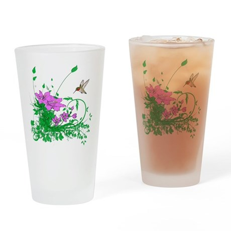 Hummingbird Garden Drinking Glass